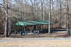 Covered picnic shelter with plenty of tables.
