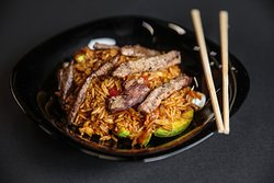 Beef rice with sweet chilli sauce