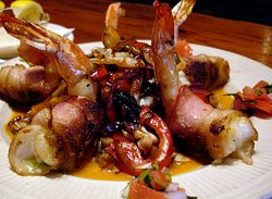 Flame Kissed Port Isabel Stuffed Jumbo Shrimp wrapped in Applewood Bacon