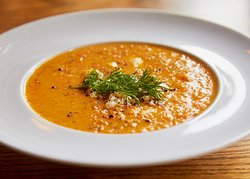 Crab Soup, Jumbo Lump Crab, Roasted Red Peppers, Cream, White Wine, Fresh Dill