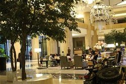 The appearance of the Tentrem Hotel building, Yogyakarta, Central Java, along with its luxury and elegance facilities, the bed, the Lobby and the extent of the Corridor
