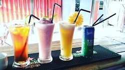 Ice tea, Milk Shake Strawberry, Pineapple juice, Sprite