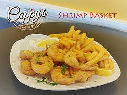 Shrimp Basket - Delicious home-made vodka batter fry shrimp basket served with fries, lermon and Tartar sauce