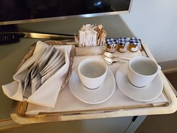Our tea tray, minus the electric kettle which I plugged in immediately.  Reception sent this up since we both had colds.  So sweet!