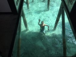 Waving at my husband through the glass floor