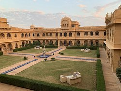 The hotel is arranged around a large central courtyard