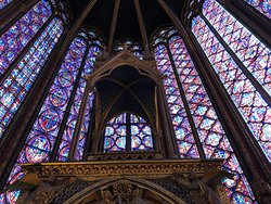 Sainte-Chapelle: the choir stained glass windows in the upper chapel