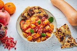 Tandoor Roasted Pumpkin (v) Orange pomegranate rice salad, dill and mustard yoghurt dressing, missi roti