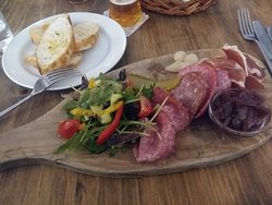 Delicious cold meat platter and lovely salad. Recommend.