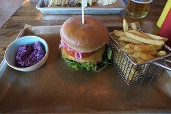 Fried halloumi cheese burger