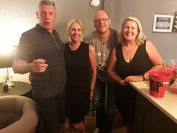 Ste & Bev with singer Peter & host Karen the best live music bar in  corralejo all the best  for 2020