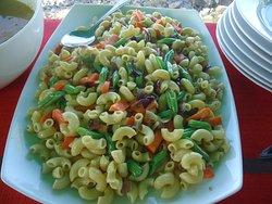Vegetable pasta at morning breakfast table