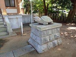 珍しいカメが狛犬の神社