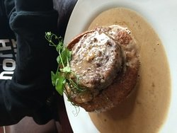 A starter! (Haggis and cranberry stuffing in a Yorkshire pudding with peppercorn sauce) - DELICIOUS!