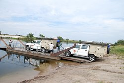 On the ferry to Liuwa Plain NP Zambia