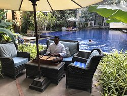 Soothing music played poolside during afternoon tea.