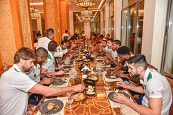 The Brazilian National Volleyball Team in Qatar's most acclaimed Fine Dining Restaurant