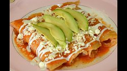 Thursday's Special Entomatadas Choose your filing: Chicken, Ground beef, or Cheese served with refried beans, and rice