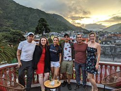 Enjoying the sunset at the rooftop bar with some friends