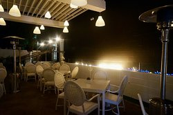 Another view of the patio including fire pit and heaters. Yes evenings in the desert can be chilly.