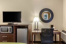 Pictured Room Amenities include Microwave, Refrigerator, Coffee Maker w/ Complimentary Coffee and Tea,and  40 in. LCD TV with Direct TV Residential Experience
