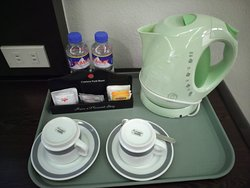 Coffee and tea making facilities + complimentary bottled water