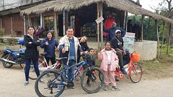 Cycling around the village in Chitwan. Bicycles rentals are cheap here.