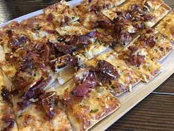 Our Apple, Bacon and Leek Flatbread from the new Winter Menu! A mouthwatering blend of flavors in a shareable starter!