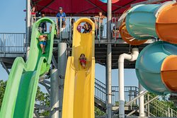 """Outdoor Waterpark """"Splashplex"""" Complete with 4 Tower Slides, a Lazy River, Pool, and Splash Playground"""