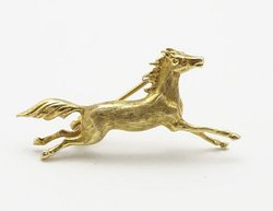 1 Vintage Miniature Late 20th Century 9ct Gold Jewellery Brooch Galloping Horse