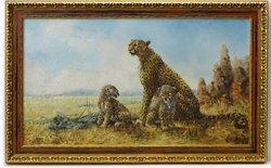 Oil Painting Family Of Cheetahs Big Cats African Savannah Listed Silvia Duran