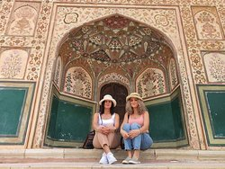Our travelers at beautiful Amer Fort in Jaipur.
