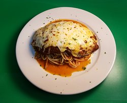 Our Chicken Parm, made using fresh homemade tomato sauce. Penne/Veg sub options available