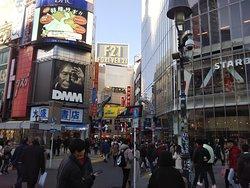 View of Shibuya Center Street from Shibuya Scramble Intersection