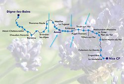 From Nice to Degen, four times a day for about 3 hours, this train delivers us gently in magnificent scenery and charming towns, there are lots of great stops for hiking and the price is not excessive. It is important !!! - Don't forget to take the train schedule !!