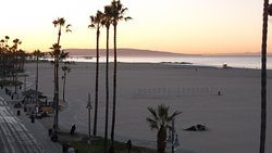 Venice Beach and pier at sunrise from rooftop terrace.