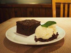 Warm salted chocolate brownie with vanilla ice cream