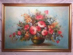 Oil Painting Classical Bouquet Flowers Carnations Still Life After K.L. Huysum