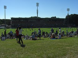 View of the main stand from grass bank