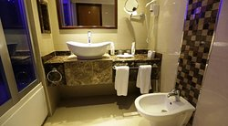Bathroom; shower/tub on left, bidet and toilet (not in photo) on the right
