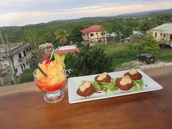 Appetizer and drink with a view!