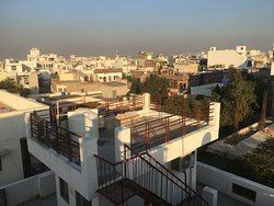 The early morning view of Jaipur from the rooftop terrace of the Rajputana.