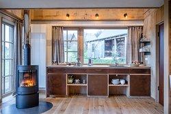 Bergchalet Küche und Kaminofen