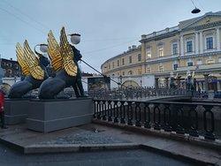 Банковский мост, набережная канала Грибоедова, январь.