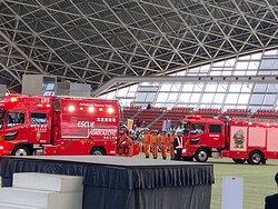 消防隊による救助訓練