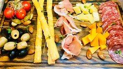 Antipasto meat + cheese (prosciutto, salchichon, cheddar cheese and Leone, olives, cherry tomatoes, nuts, capers) -298 uah