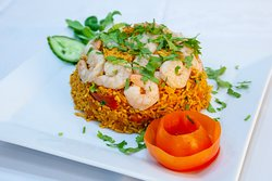 prawn biryani, 20 years of experience in indian restaurant , our chef special .