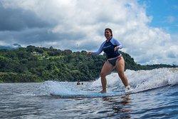 Catching a green wave in Uvita, Costa Rica