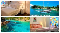 Pousada do Sossego Jacareí, estamos localizados a 350 Mts. da praia e do píer de embarque para Ilha Grande.  Organizamos seus passeios para a Ilha e outras praias!