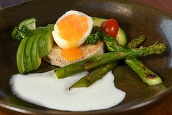 Kefir cheese, poached egg, asparagus, avocado and olive oil